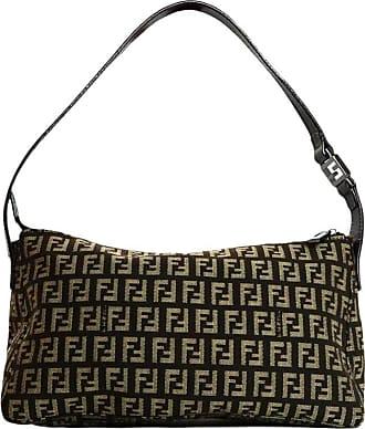 Fendi Dark Brown Canvas Zucca Monogram Zip Top Pochette Bag f71edad4b7611