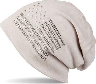 styleBREAKER Noble Beanie hat in USA Flag Design with Rhinestone Rivets, Unisex 04024042, Colour:Beige