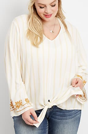 1df2a3807de Maurices Plus Size - Stripe Tie Front Embroidered Sleeve Top