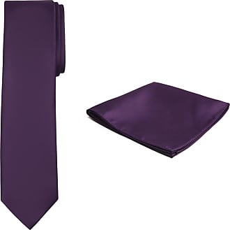 Jacob Alexander Solid Color Mens Tie and Hanky Set - Eggplant Purple