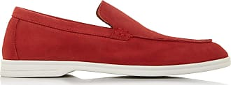 Dune London Dune Mens BELTERS Square Toe Loafer Size UK 10 Red Flat Heel Suede Loafers