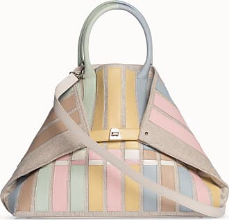 MQaccessories Medium Shoulder Tote Bag in Canvas with Applied Calf Leather Stripes