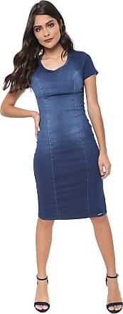 Dimy Vestido Jeans dimy Midi Estonado Azul