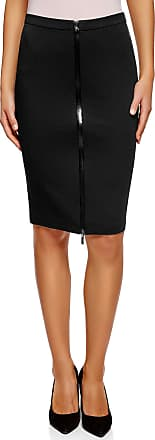 oodji Collection Womens Jersey Skirt with Front Zipper, Black, UK 12 / EU 42 / L