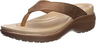 Crocs Womens Capri Metallictxt Wedge Flip W Clogs, Brown (Bronze/Bronze 860), 8 UK