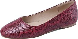 Mediffen Womens Concise Round Toe Casual Slip On Snakeskin Flats Red Size 40 Asian