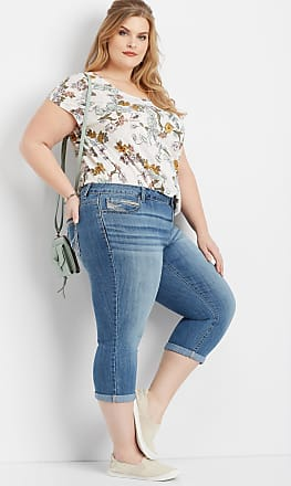 56aa88800ed34 Maurices Plus Size - Denimflex Medium Wash Rolled Hem Capri