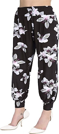 Islander Fashions Womens White Lily Printed Alibaba Harem Trouser Ladies Cuffed Bottom Leggings Pants White Lily Black Large