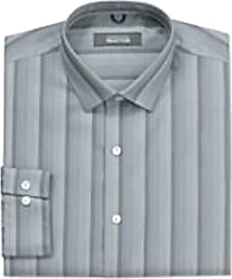 Kenneth Cole Mens Regular Fit Pure Cotton Long Sleeve Shirt Gravel Graded Stripe 16 (34/35 Sleeve)