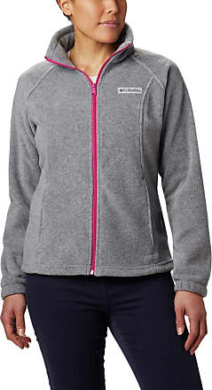 Columbia Womens Benton Springs Plus Size Full Zip Fleece Jacket, Light Grey Heather/Fuchsia, 2X