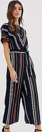 Warehouse jumpsuit with belt in stripe-Black