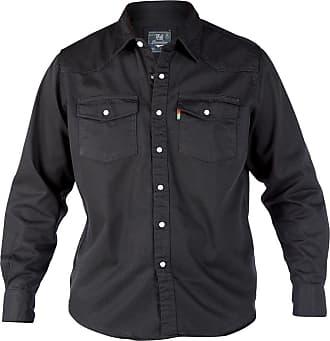 Duke London Mens Denim Stonewash Classic Western Style Long Sleeved Shirt (5X-Large, Black)