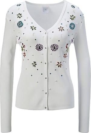 Madeleine Strickjacke mit glanzvoller Dekorartion in weiß MADELEINE Gr 36/38, wollweiß für Damen. Polyamid/Nylon, Viskose. Waschbar