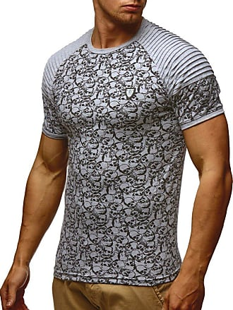 LEIF NELSON Mens T-Shirt Round Neck Collar LN-650 Grey X-Large