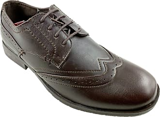 US Brass Mens Faux Leather LACE UP Brogue Shoes Brown Size UK 7-12 New (10)