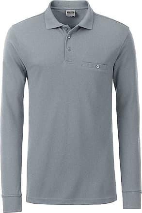 2Store24 Mens Workwear Polo Pocket Longsleeve in Grey-Heather Size: 6XL