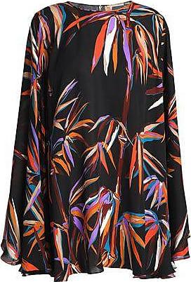 3ef82ce37903b1 Emilio Pucci Emilio Pucci Woman Cape-effect Floral-print Silk Blouse Black  Size 44