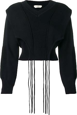Fendi Suéter cropped com sobreposição - Azul