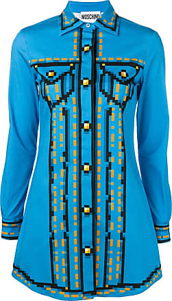 Moschino pixel print shirt dress - Blue