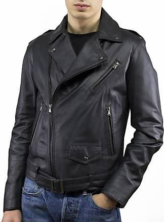 Leather Trend Italy Chiodo Uomo - Giacca in Vera Pelle colore Nero Morbida