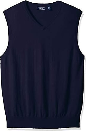 Izod Mens Premium Essentials Solid V-Neck 12 Gauge Sweater Vest, New Peacoat, Medium