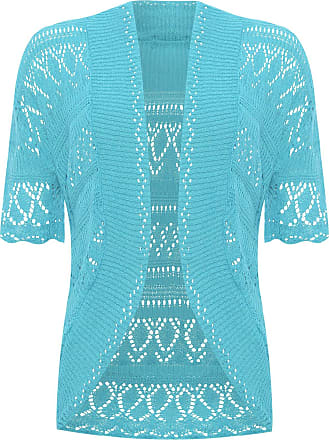 WearAll Womens Plus Knitted Crochet Short Sleeve Top Shrug Ladies Open Cardigan - Turquoise - 28-30