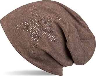 styleBREAKER Warm Beanie hat with Star Rhinestone Application, Unisex 04024023, Color:Taupe-Brown