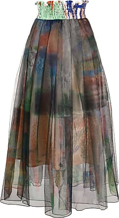 Quetsche pleated print-layered skirt - Brown