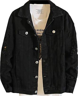 H&E Mens Casual Vintage Ripped Hole Distressed Trucker Jean Coat Denim Jacket Black 3XL