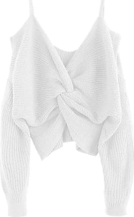 Zaful Womens Sexy Strapless Shoulder Knotted Loose Knitted Jumper Tumblr Sling Top Short Jumper - White - M