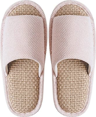 Yvelands Home Slippers Womens Winter Cotton Slipper Soft Sole Linen Peep Toe Flat Slippers Indoor Bedroom Shoes Pink