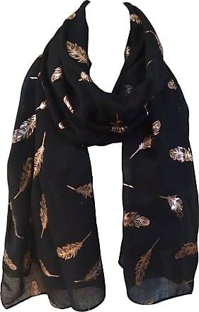 GlamLondon Feathers Scarf Rose Gold Glitter Foil Feather Print Ladies Party Wedding Fashion Wrap (Black)