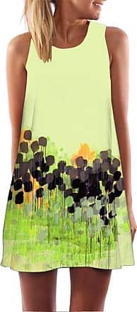 FNKDOR Summer Vintage Boho Women Beach Swimming Traveling Suit Sunwear Loose Sleeveless 3D Floral Print Bohe Tank Mini Dress A-line Skirt(Yellow,UK-20/CN-XXL