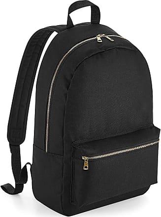 BagBase Metallic Zip Backpack - Gold or Silver Zipper - Black/Silver