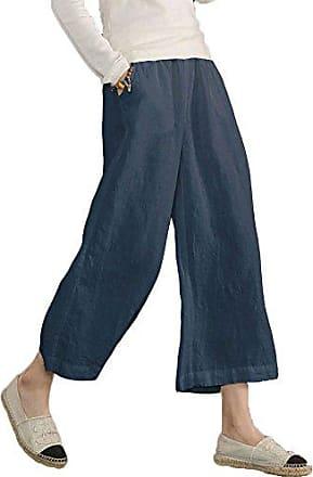Damen Leinenhose Weites Bein Hose Hosenrock Leinen Hosen Sommerhosen Elegante Stoffhose Haremshose Casual Yogahose Lange Schlupfhose mit Taschen