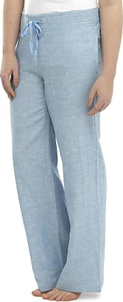 Tom Franks Ladies Women Full Length Two Tone Linen Trousers with Elasticated Waist, Size 16