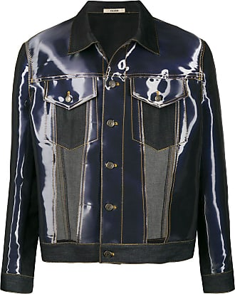 Zilver abstract-print cut-out denim jacket - Blue