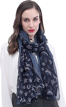 Lina & Lily Christmas Santa Sleigh Reindeer Snowman Tree Print Womens Large Scarf Lightweight (Blue)