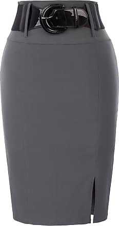 Belle Poque Ladies Elegant Office Formal Belted Stretchy Pencil Skirts High Waist Dark Gray(762-2) Small