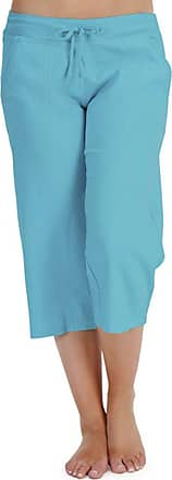 Tom Franks Ladies Solid Colour Linen 3/4 Length Trouser Lounge Wear Pants - Turquoise - Adjustable