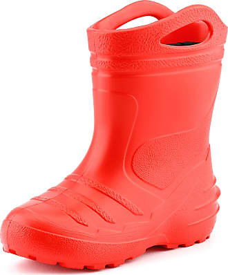 Ladeheid Childrens Girls Boys EVA Extra Light Wellington Boots Rainy Wellies Rain Boots KL051 (Red, 2.5 UK)