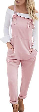 TOMWELL Women Retro Casual Loose Soft and Breathable Overall Strap Sleeveless Long Playsuit Romper Harem Jumpsuit Dungarees Pink UK 20