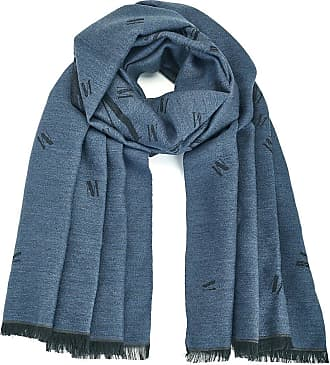 Madeleine Logo-Schal in blau MADELEINE Gr ohne, rauchblau für Damen. Schurwolle, Seide, Wolle
