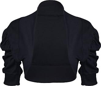 Noroze Girls Kids Plain Ruched Sleeves Bolero Shrug Cardigans (11-12 Years, Black)
