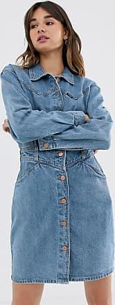 Wrangler Vestito di jeans con bottoni e cuciture-Blu