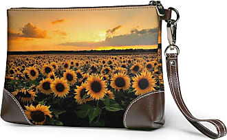 GLGFashion Womens Leather Wristlet Clutch Wallet Sunflowers Storage Purse With Strap Zipper Pouch