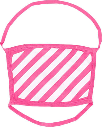 Off-white striped print face mask - PINK