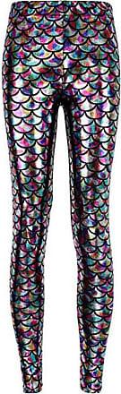 Zhuhaixmy Womens Mermaid Fish Scale Digital Printing Stretch Tight Shine Leggings Pants