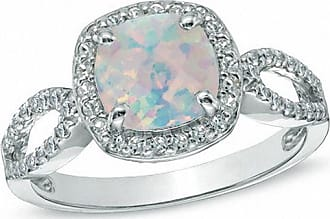 Zales 7.0mm Cushion-Cut Lab-Created Opal and White Sapphire Ring in Sterling Silver