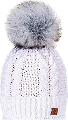 MFAZ Morefaz Ltd Wurm Winter Strickm/ütze M/ütze Damen Kristalle Kiesel Gro/ße Bommel Emma Pompon l Ski